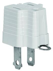 Cooper Wiring 419GY Gray 2wire Grounding Adapter