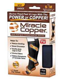 Ontel Products 1000287 Miracle Copper Anti-Fatigue Compression Socks Size Small/Medium