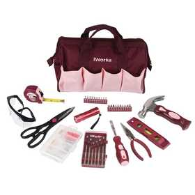 Olympia Tools 80-795 36-Piece Pink Tool Bag Set