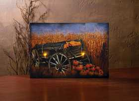 OHIO WHOLESALE 39021 Lighted Canvas Harvest Wagon 14 in x 20 in