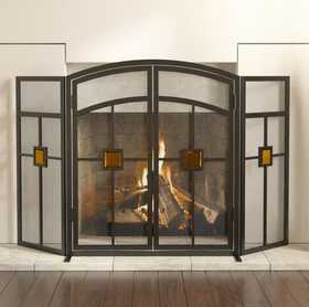 Panacea 15137 3 Panel Fireplace Screen Mission With Glass Insert