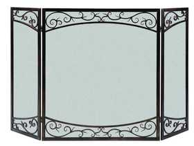 Panacea 15917 3 Panel Fireplace Screen Dual Scroll Brushed Bronze