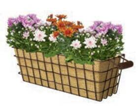Panacea 83330 24 In Woven Wire Window Box With Burlap Liner Rust