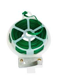 Panacea 89791 60 ft Wrapped Metal Twist Tie with Dispenser Green