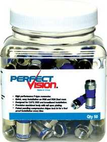 Perfect Vision Mfg 019006 Universal Coax Compression Connector 50pk