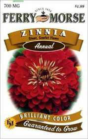 Ferry-Morse Seed Company 1175 Zinnia G D Scarlett Seeds