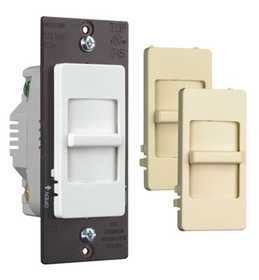 Legrand/Pass & Seymour WS700TCCCV6 Wide Slide TradeMaster 700w Incandescent Dimmer, 3 in Terchangeable Face Colors