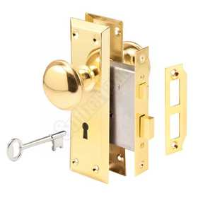 Prime Line Products E 2293 Lock Set Mortise Keyed Brass Knb