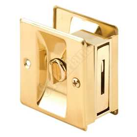 Prime Line Products N 6771 2-3/4-Inch Brass Pocket Door Lock And Pull