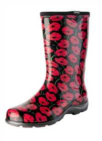 SLOGGERS 5016POR07 Women's Tall Rain & Garden Boots Red Poppies 7