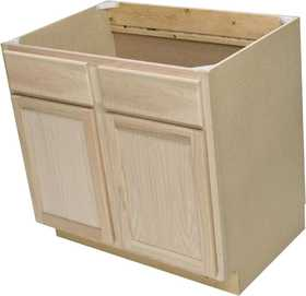 Quality One Woodwork SB36 36 in Unfinished Oak Sink Base Cabinet