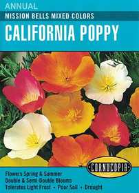 Cornucopia Garden Seeds 114 Mission Bells Mixed Colors California Poppy Seeds