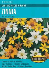 Cornucopia Garden Seeds 238 Classic Mixed Colors Zinnia Seeds