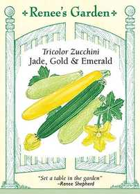 Renee's Garden Seed Co. 5810 Jade Gold And Emerald Tricolor Zucchini Seeds