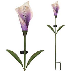 Regal Art & Gift 11251 Solar Calla Lily Bubble Stake - Purple
