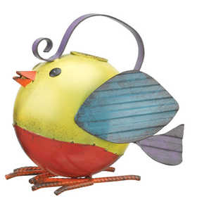 Regal Art & Gift 10602 Folk Bird Watering Can - Yellow