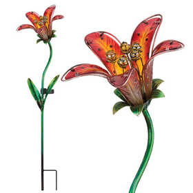 Regal Art & Gift 10837 Stake Solar Tiger Lily Red