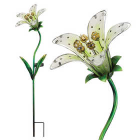 Regal Art & Gift 10838 Stake Solar Tiger Lily White