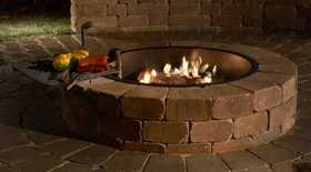 Rockwood Retaining Walls 3500014 Compact Firepit With Cooking Grate Santa Fe