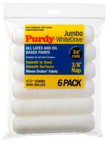 Purdy 140626612 6.5 Jumbo White Dove Paint Roller Cover 3/8 6pk