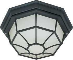 Satco Nuvo Lighting 60-536 Outdoor Die-Cast Caged Ceiling Light Textured Black