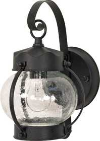 Satco Nuvo Lighting 60-632 Outdoor Onion Lantern With Seeded Glass Textured Black