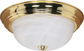 Satco Nuvo Lighting 60-215 Flush Mount Lighting Fixture With Alabaster Glass Polished Brass