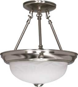 Satco Nuvo Lighting 60-200 Semi Flush Mount Light Fixture Alabaster Glass Brushed Nickel