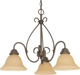 Satco Nuvo Lighting 60-1021 3-Light Chandelier With Champagne Glass In Sonoma Bronze