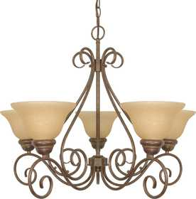Satco Nuvo Lighting 60-1023 5-Light Chandelier With Champagne Glass In Sonoma Bronze
