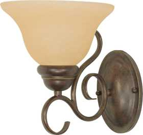 Satco Nuvo Lighting 60-1032 Vanity Light Fixture With Champagne Glass In Sonoma Bronze