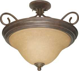 Satco Nuvo Lighting 60-1027 Semi Flush Ceiling Light With Champagne Glass In Sonoma Bronze