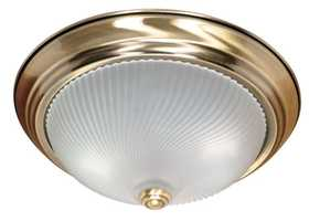 Satco Nuvo Lighting 60-238 Flush Mount 2 Lt 13 in Antique Brass