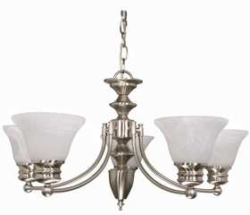 Satco Nuvo Lighting 60-356 Chandelier 6 Lt 26 in Empire Brushed Nickel