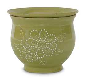 New England Pottery 100511347 Textured Selfwatering Planter With Flowers Avalawn 6 in