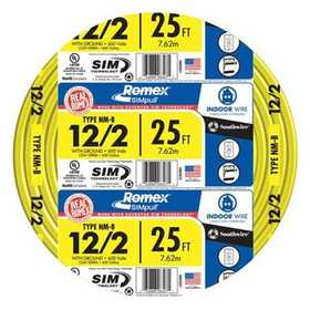 Southwire 28828221 12/2 Nm-B Electrical Cable With Ground 25 ft
