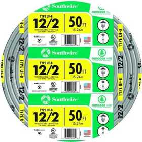 Southwire 13055922 12/2 Uf-B Electrical Cable With Ground 50 ft
