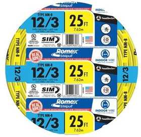 Southwire 63947621 12/3 Nm-B Electrical Cable With Ground 25 ft