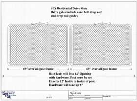 STEPHENS PIPE & STEEL GTB14442 12 ft X 3.5 ft 12.5 Gauge Galvanized Steel Bent Frame Drive-Thru Residential Fence Gate