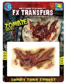 Tinsley Transfers Inc. FXTM-703 Zombie Torn Throat Temporary Tattoo