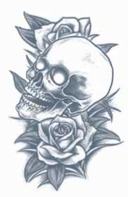 Tinsley Transfers Inc. PR-314 Skull And Roses Temporary Tattoo