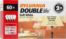 Sylvania/Osram 11204 60w Incandescent Bulb Double Life Soft White 4 Pack