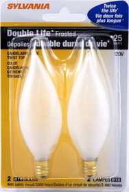 Sylvania/Osram 13317 25w Double Life Decor Bulb White Small Base 2pk