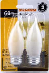 Sylvania/Osram 13324 60w Double Life Decor Bulb White Reg Base 2pk