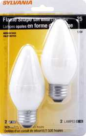 Sylvania/Osram 13820 25w Incandescent Flame Bulb White Reg Base 2 Pack