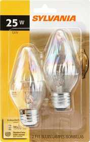 Sylvania/Osram 13821 25w Incandescent Flame Bulb Clear Reg Base 2 Pack