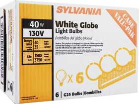 Sylvania/Osram 14190 40w White Incandescent Globe Case 6 Pack