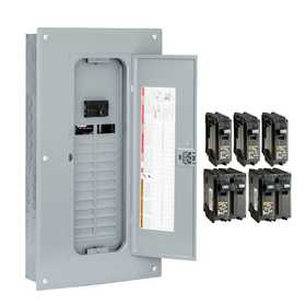 Square D HOM2448M100PCVP Homeline 100 Amp 24-Space 48-Circuit Indoor Main Breaker Load Center, Value Pack