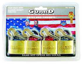 Howard Berger/Ultra Lock 624X4 Guard Security 624x4 Solid Brass Padlock 1-1/2-Inch Standard Shackle Keyed Alike, 4-Pack