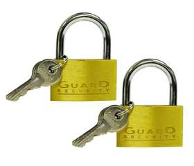 Howard Berger/Ultra Lock 1622X2 Guard Security 1622x2 Solid Brass Thin Padlock Keyed Alike, 1-Inch, 2-Pack